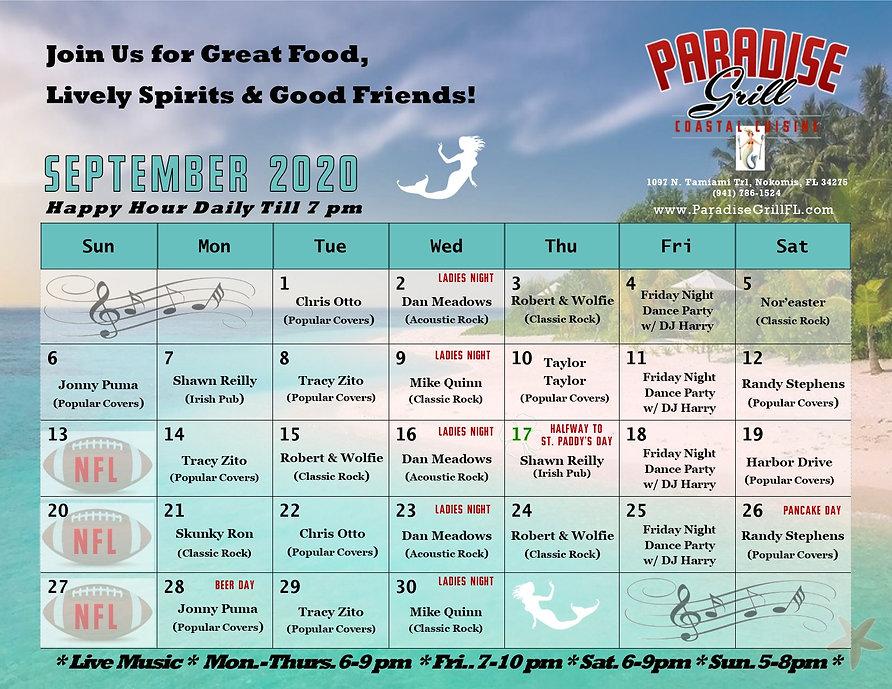 September 2020 Band Calendar Amended 9 2
