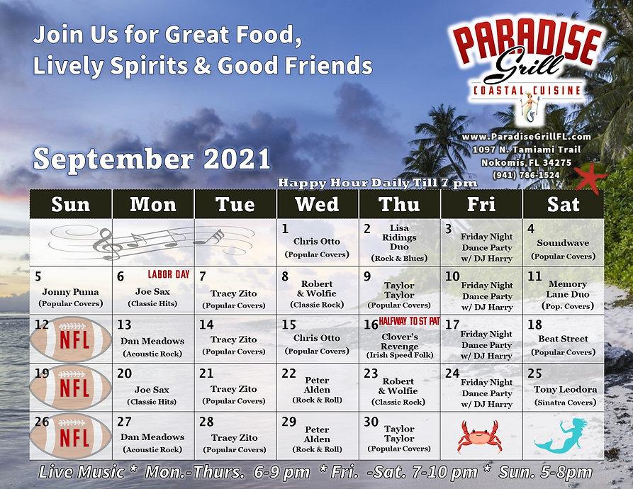 September 2021 Band Calendar