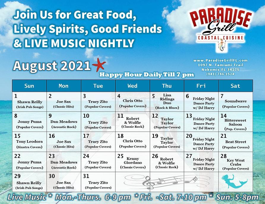 Entertainment Calendar for August 2021