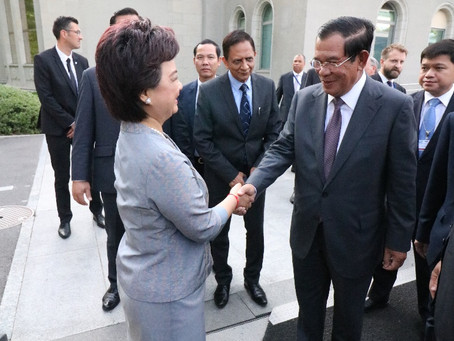 """ทูตสุนันทาฯ ต้อนรับนายกฯ """"ฮุนเซน"""" ในการประชุม Aid for Trade Global Review 2019 ณ WTO"""