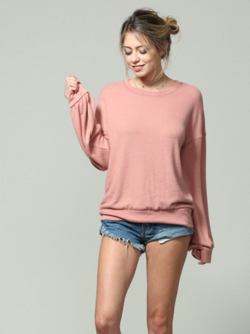 MAUVE SLOUCH PULLOVER