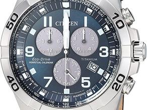 Citizen Men's Eco-Drive Titanium Quartz Brown Leather Calfskin Strap Casual Watch