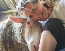 My sweet friend and I at Farm Sanctuary