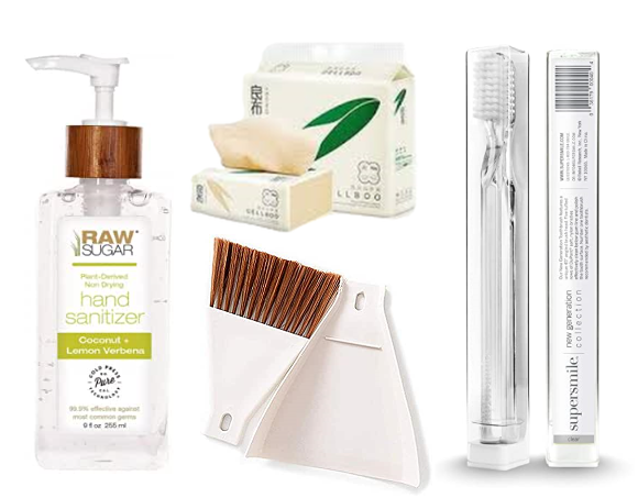 Home Products, dustpan, toothbrush, hand sanitizer, bamboo tissues