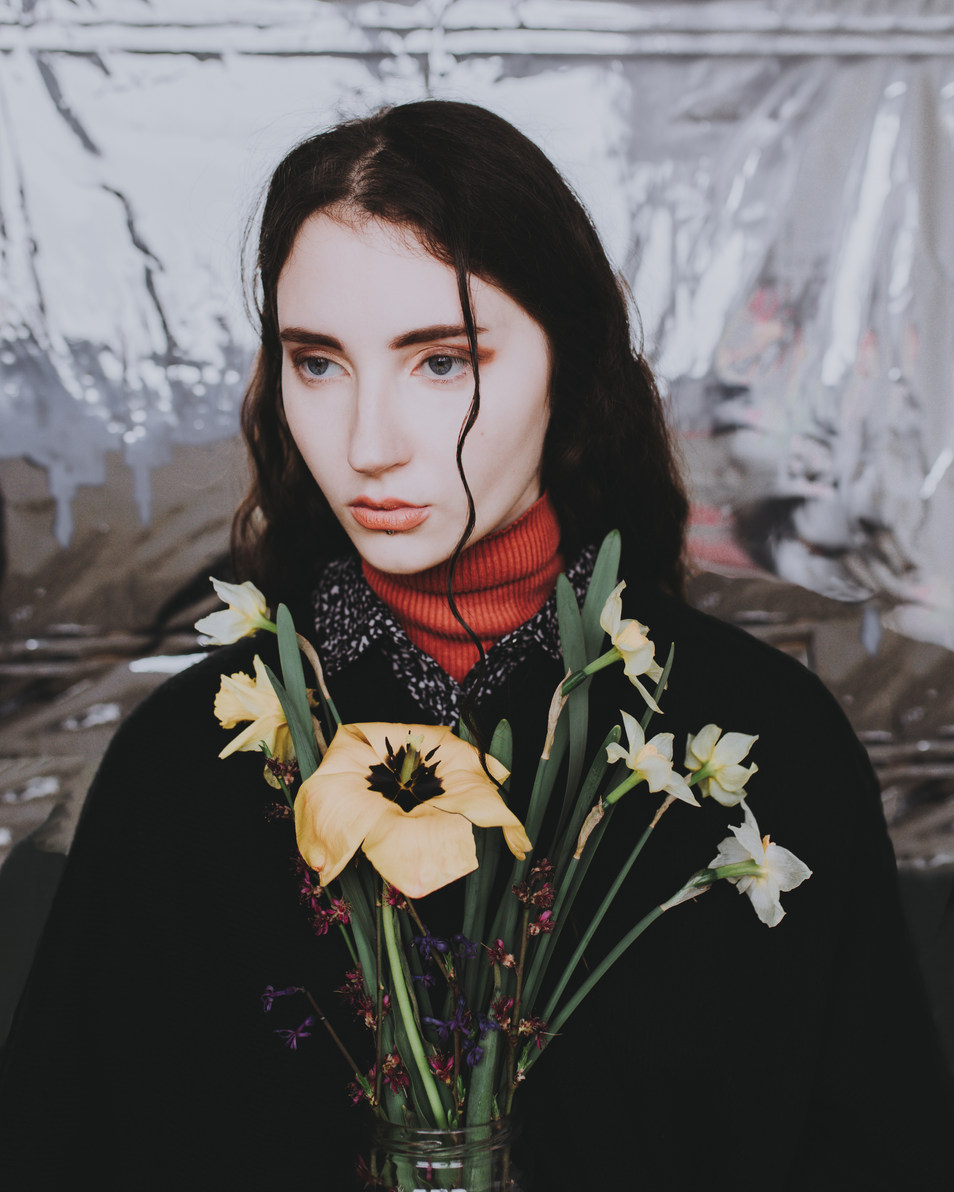Portrait with flowers