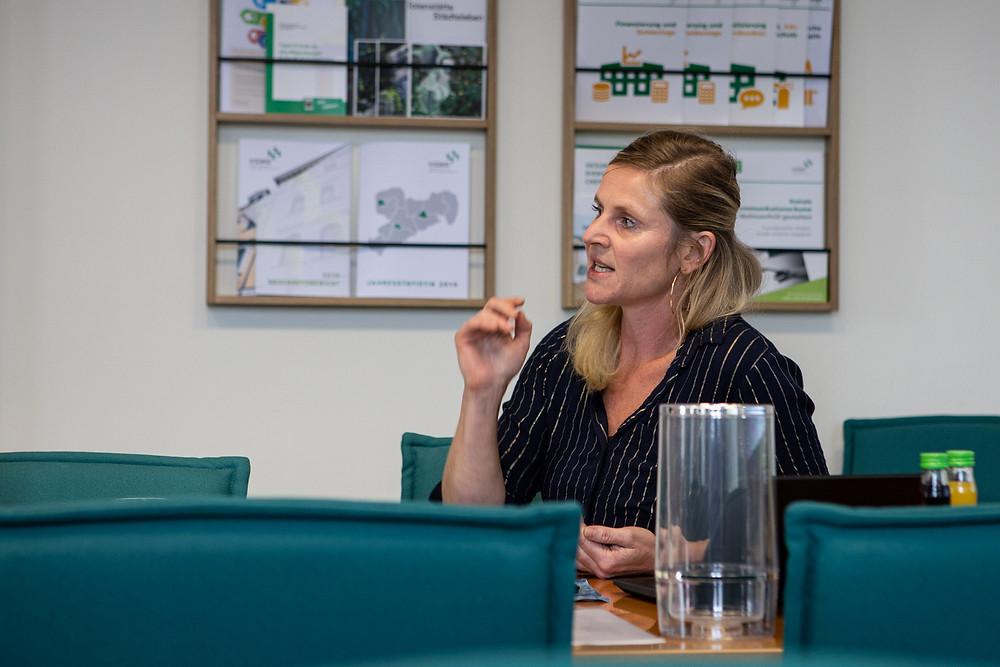Frau Dr. Kristina Barczik leitet das erste Treffen bei der VSWG.