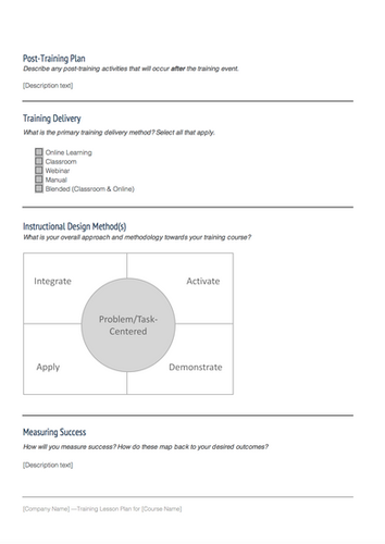 Instructional design templates instructional design - Instructional design plan examples ...