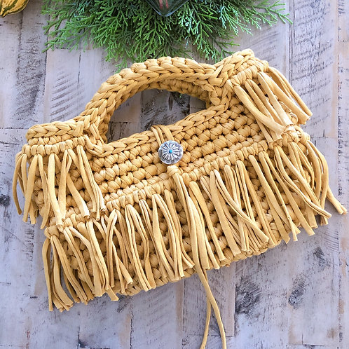Double Fringe Bag-Mustard