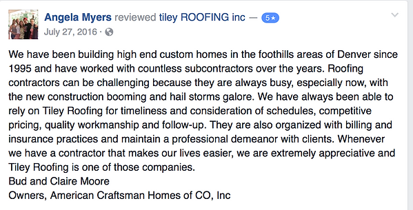Roofing schedule review