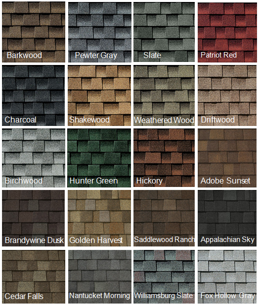 Roof Shingle Color selection