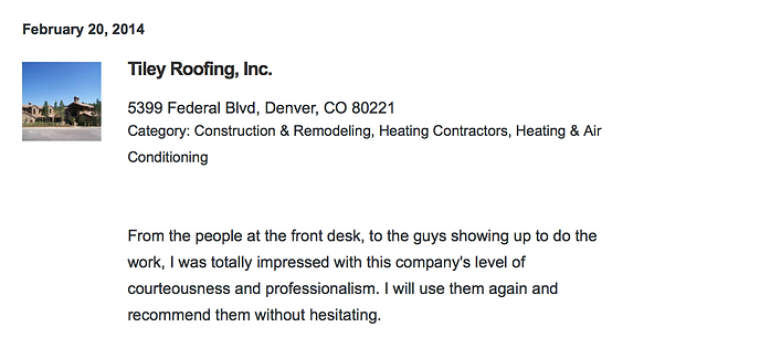 Denver roofing review