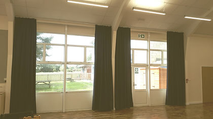 Curtains in a school hall in Tetbury