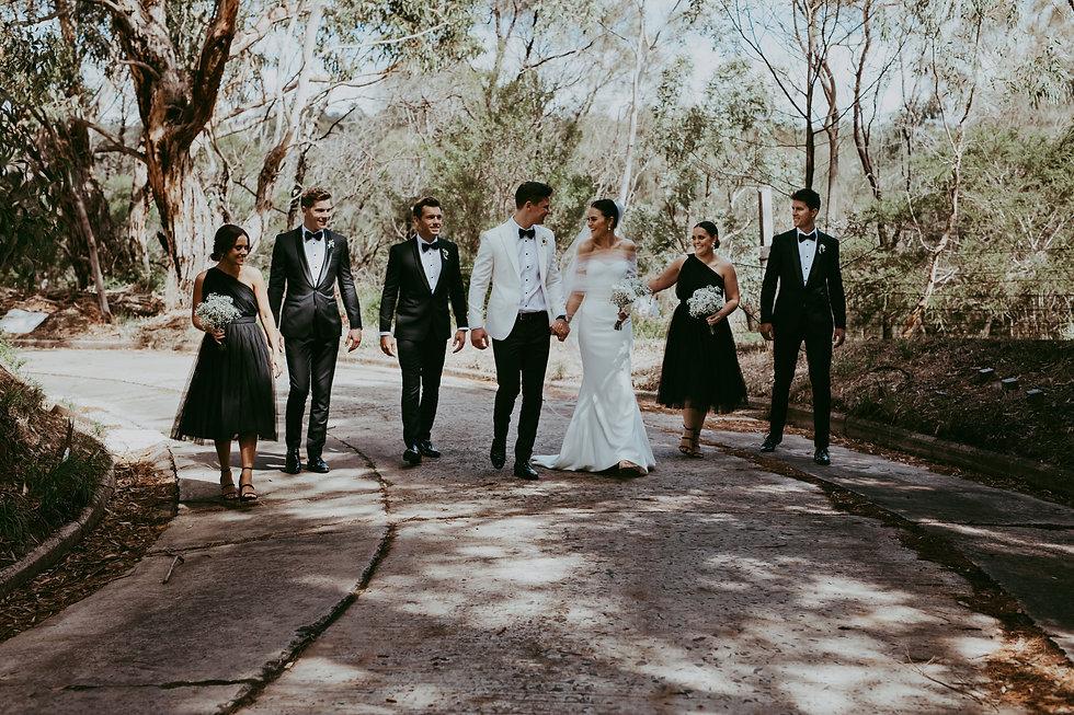 wedding group walking