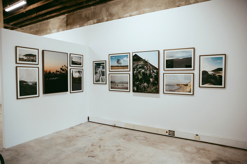The whole exhibition hanging on the walls of the Hub in Ballarat.
