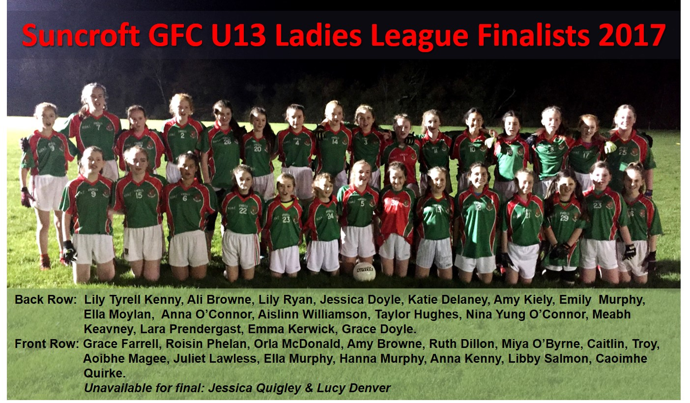 Suncroft GFC U13 Ladies 2017 League Finalists