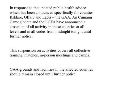 GAA LGFA Further Lockdown