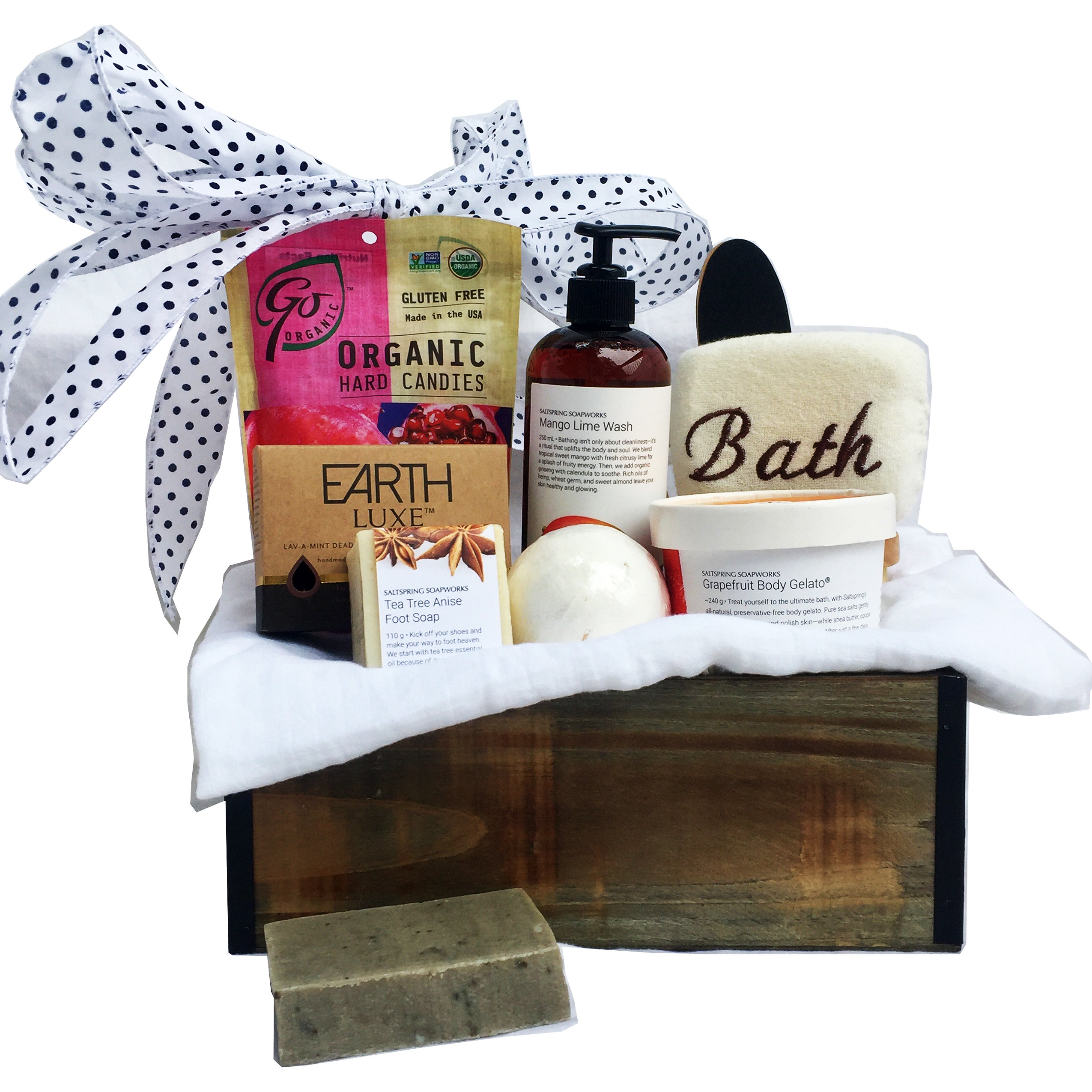 Organic bath retreat send this exquisite and relaxing organic spa gift basket to that special someone with high quality all natural products from british columbias saltspring negle Choice Image