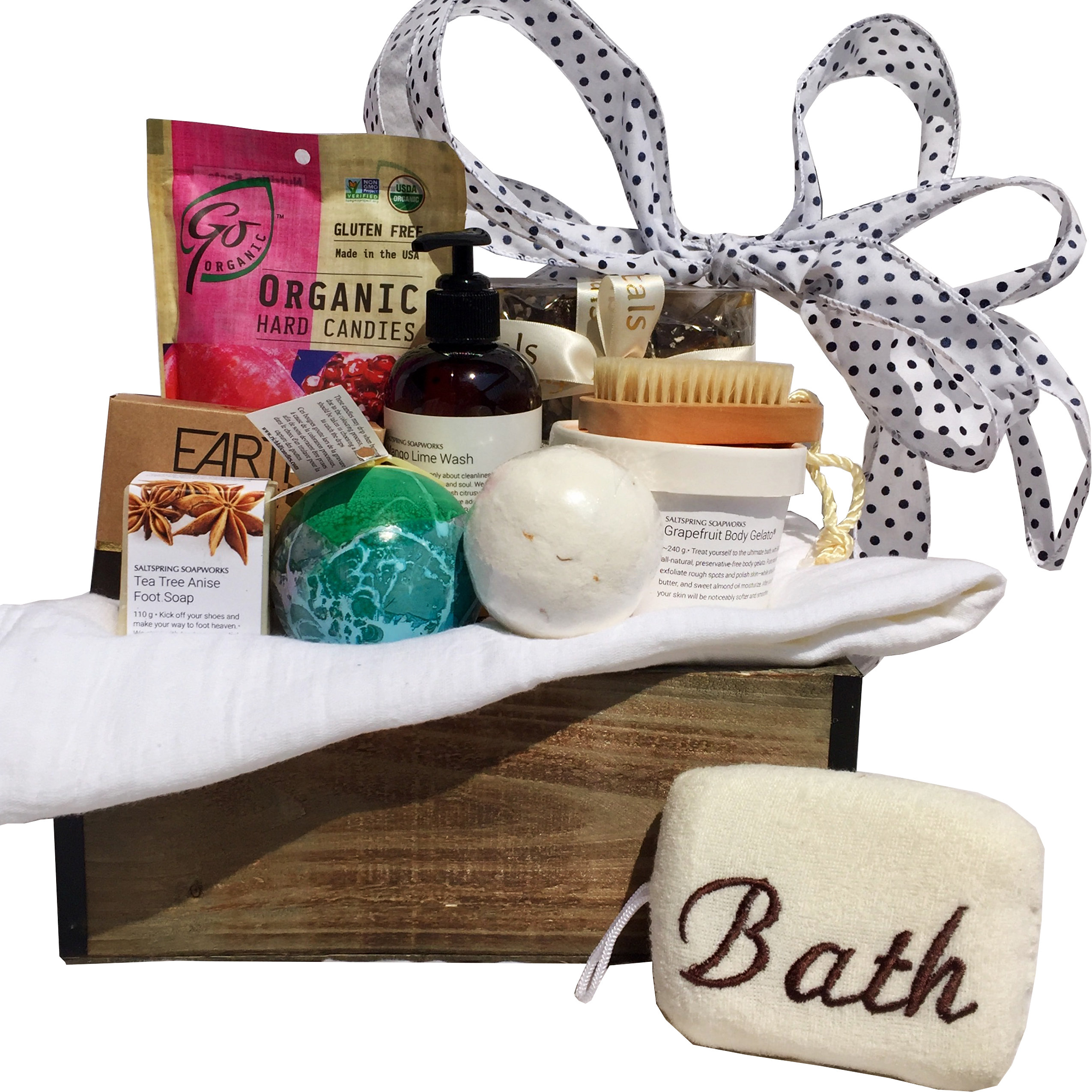 Organic bath retreat deluxe we have made the organic bath retreat even better with the deluxe version send this exquisite and relaxing organic spa gift basket to that special someone solutioingenieria Choice Image