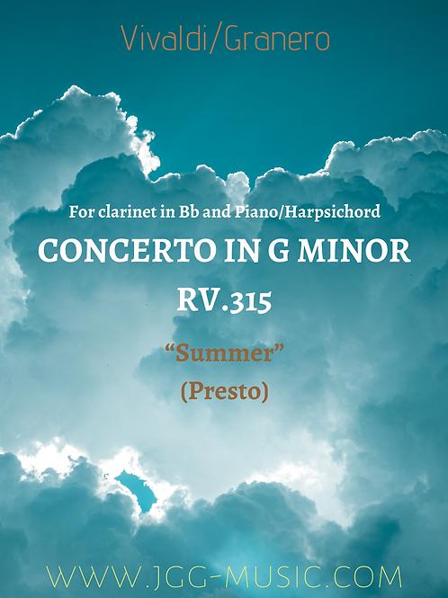 Vivaldi - Summer (Presto)-for clarinet&piano/harpsichord