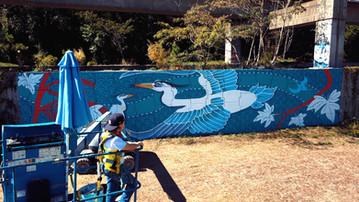 Great Blue mural by Jonesy Art Atl