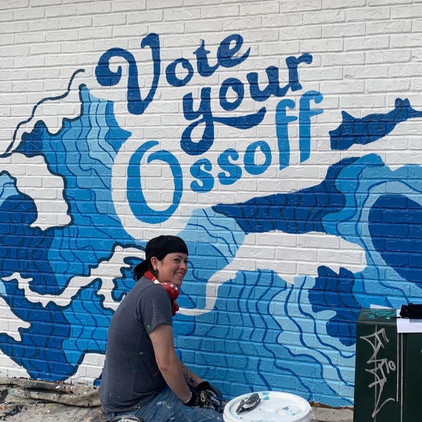 VOTE YOUR OSSOFF mural by Jonesy Art Atl
