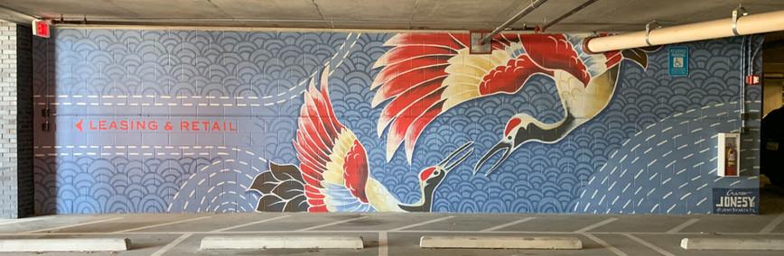 Cranes mural at Modera Vinings by Jonesy