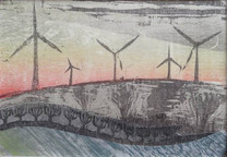 Evening Landscape with Windmills