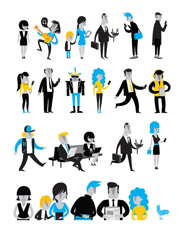 Matt Oxborrow, Illustration, Art Direction, character Design. Character design for Virgin Media WiFi on the Underground