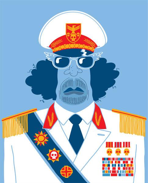 Matt Oxborrow, Illustration, Art Direction, character Design. Gadaffi Caricature