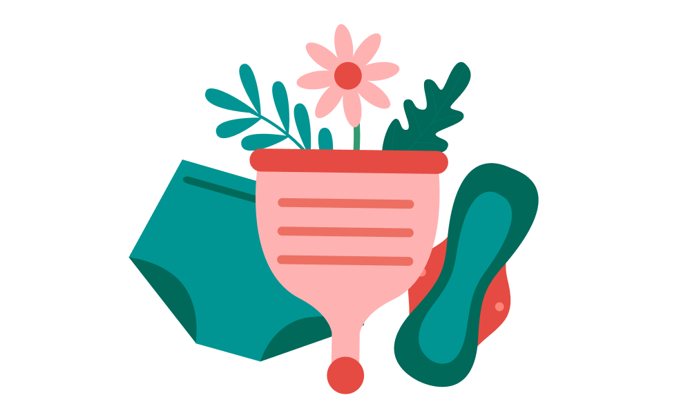 Illustration of menstrual cup, period underwear and cotton pad