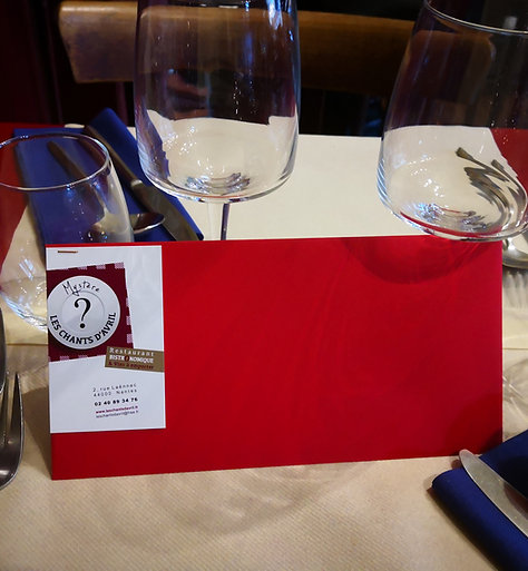 CHEQUE CADEAU NOEL  au RESTAURANT /2pers - apéritif / Menu / Vin