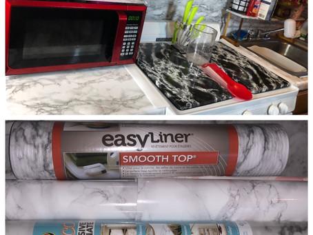 DIY Marble Backsplash using Shelf Liner and Contact Paper