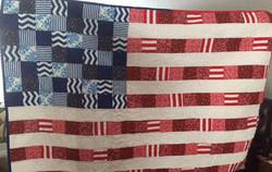 Flag Quilt by Esther G.  Meander star and simple meander quilt design.jpg