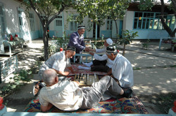 2 Uzbek pensioners relax in the tea-house