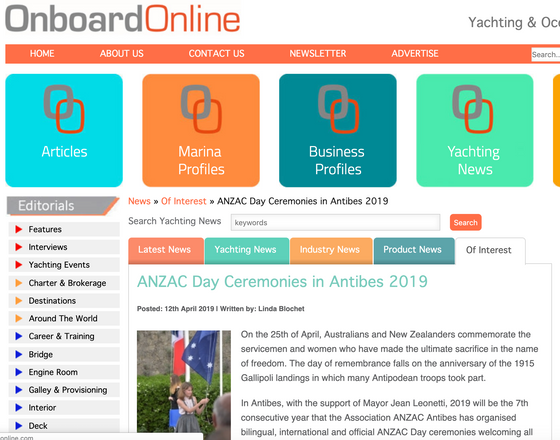 OnboardOnline gets onboard with ANZAC Day in Antibes