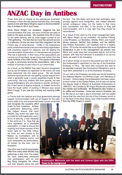 Australian Peacekeeper magazine features ANZAC Day in Antibes