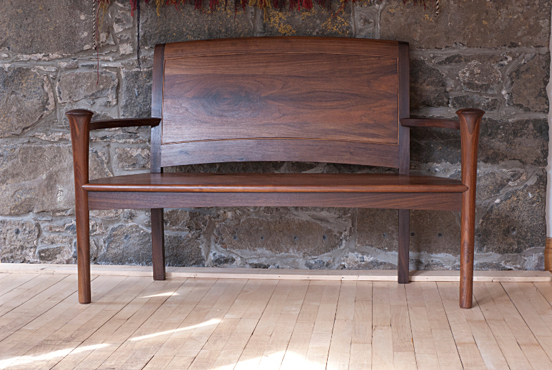Walnut hall bench