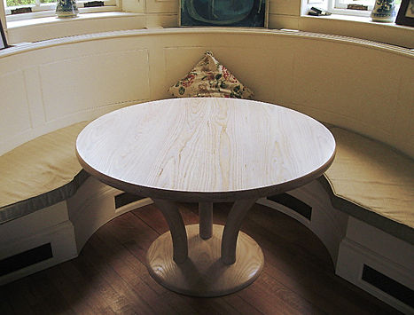Limed ash small circular dining kitchen games table pedestal