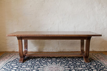 Walnut refectory dining table | walnut kitchen refectory-style table