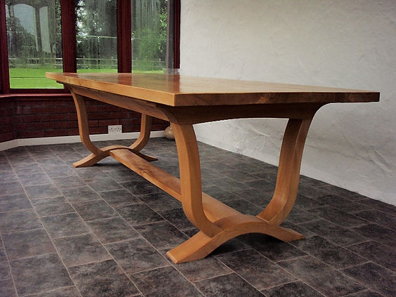 Elm refectory dining table | walnut kitchen refectory-style table