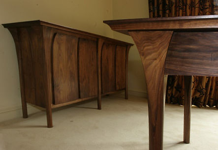 Walnut dining suite table matching chairs console table sideboard upholstered hardwood