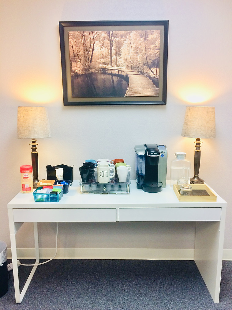 The coffee station, help yourself!