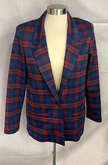 Alfred Dunner Women'ssz 8 Blue Red Black padded shoulders Jacket