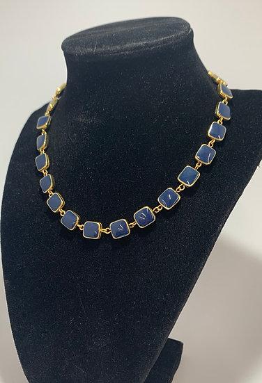 Vintage Napier Gold Tone Navy Blue Enamel Necklace