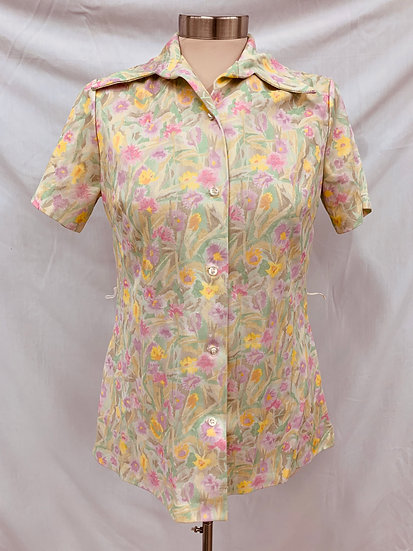Vintage Flowery Women's Short Sleeve Yellow Purple Greens Short Sleeve Top Blous