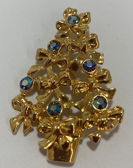 Avon Ribbon Tree Aurora Borealis Rhinestone Brooch/Pin Gold Tone