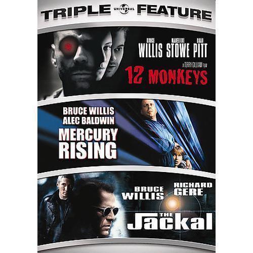 Triple Feature-12 Monkeys/Mercury Rising/The Jackal (DVD, 2008, 3-Disc S