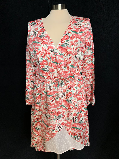 Women's Floral V Neck High Front Long Back Handmade Dress White Pink Green Black