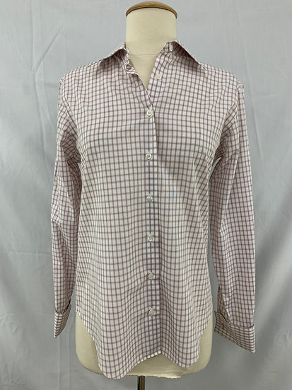BROOKS BROTHERS 346 Women's sz 4 WHITE Checkered Semi Fitted FRENCH CUFFS Top
