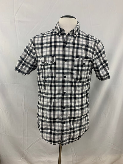 Attention Men's size M Modern Fit Black White Checkered Short Sleeve Button
